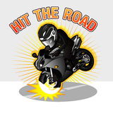 Biker. In black suite with black motorcycle Stock Photography