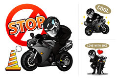 Biker. In black suite with black motorcycle Stock Photo