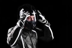Biker in black uniform Stock Photo