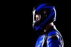 Biker in blue equipment Royalty Free Stock Image