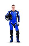 Biker in blue full length Stock Photography