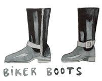 Biker boots. Hand drawn watercolor illustration. Royalty Free Stock Photo