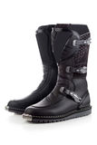 Biker boots for motocross. Enduro boots for riding on a motorcycle  on white Stock Image