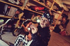 Biker boy Stock Images