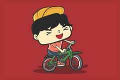 Biker Boy. An happy boy that ride his bicycle stock illustration