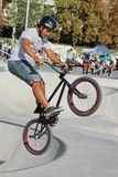 Biker at the brand new skate park, Geneva, Switzerland Stock Images