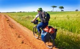 Biker by Camino de Santiago in bicycle stock images