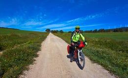 Biker by Camino de Santiago in bicycle royalty free stock photos