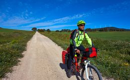 Biker by Camino de Santiago in bicycle royalty free stock images