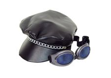 Biker cap and goggles Royalty Free Stock Photo