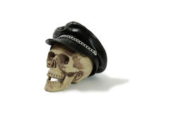 Biker cap on skull Stock Photography