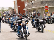 Biker Charity Run. April 26, 2008 Belton, Mo. The second annual Bikers, Blues & BBQ Charity Poker Run was Saturday at the Belton Eagles Lodge, 310-312 Main St Royalty Free Stock Photography