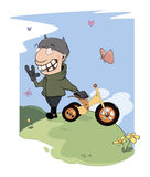 Biker and a children's tricycle cartoon Royalty Free Stock Image