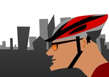 Biker and the city Royalty Free Stock Photo