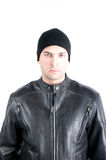 Biker Close-up. Young man wearing a biker leather jacket symbolizing a bike rider Royalty Free Stock Photography