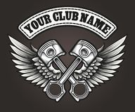 Biker club emblem with winged pistons Royalty Free Stock Photography