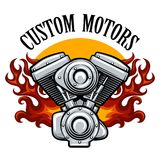 Biker club emblem with pistons in flame. Bikers racing team, motorcycle club or motorcycle service badge with motor in flame. Vector illustration Royalty Free Stock Image