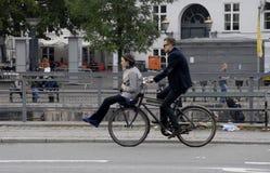 BIKER IN COPENHAGEN Royalty Free Stock Images