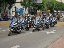 Biker Cops Mexico City. A group of biker cops at Alameda Avenue in downtown Mexico City Stock Photography
