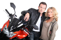 Biker couple close-up. Royalty Free Stock Photography