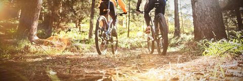 Biker couple riding mountain bike in the forest. At countryside stock photos
