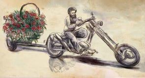 biker Creatore di amore Un'illustrazione disegnata a mano, sketchin a mano libera royalty illustrazione gratis