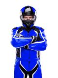 Biker in dark blue equipment Royalty Free Stock Photos