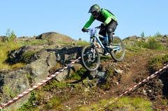 Biker downhill Stock Image