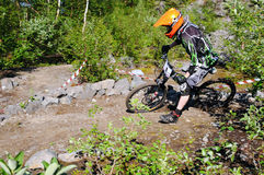 Biker downhill Stock Images