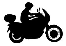 Biker driving a motorcycle rides along the asphalt road  silhouette. Biker driving a motorcycle rides along the asphalt road  silhouette illustration. Freedom Stock Photo