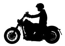Biker driving a motorcycle rides along the asphalt road vector silhouette. Biker driving a motorcycle rides along the asphalt road vector silhouette Royalty Free Stock Photography