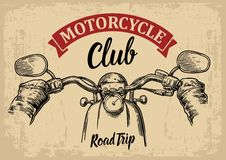 Biker driving motorcycle rides. First-person view. Vector engraved illustration  on  bright vintage background. For web, poster motorcycle  club. Road Trip Stock Images