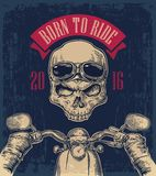 Biker driving a motorcycle rides and skull with glasses. Royalty Free Stock Photos