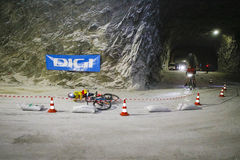 Biker falling Royalty Free Stock Images