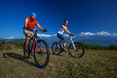 Biker family in Himalaya mountains Royalty Free Stock Photography
