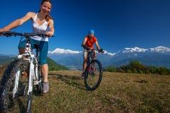 Biker family in Himalaya mountains Stock Photography