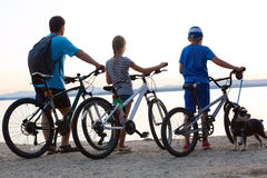 Biker family silhouette. Royalty Free Stock Images
