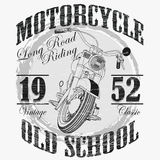Biker fashion Typography, Motorcycle sport emblem. Classic style print label. Vector Stock Photo