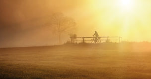 Biker in the fog. Biker is driving with his bike on the bridge with sunset Royalty Free Stock Images