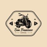 Biker garage logo. Vector hand drawn motorcycle.Vintage detailed bike illustration for custom company,chopper store etc. Royalty Free Stock Image