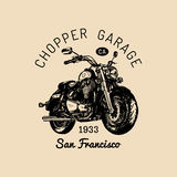 Biker garage logo. Vector hand drawn motorcycle.Vintage detailed bike illustration for custom company,chopper store etc. Stock Photo