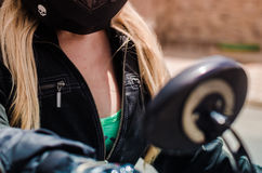 Biker girl chest close up Royalty Free Stock Images