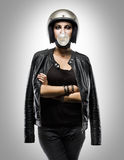 Biker Girl fashion. In isolated stock images