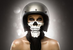 Biker Girl fashion. In isolated royalty free stock photography