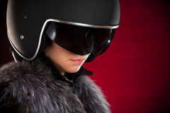 Biker girl in a helmet Royalty Free Stock Images