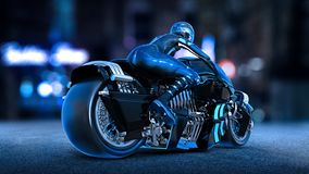 Biker girl with helmet riding a sci-fi bike, woman on black futuristic motorcycle in night city street, rear view, 3D render vector illustration