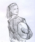Biker girl pencil sketch. Hand drawn pencil sketch of a smiling biker girl holding her helmet. Her hair is long and tied in ponytail, and she wears black leather Royalty Free Stock Photo
