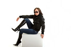Biker girl is posing Royalty Free Stock Photography