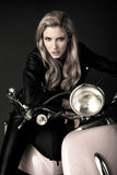 Biker girl. Stock Photos