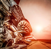 Biker girl riding on a motorcycle Stock Images